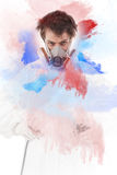 Worker with airbrush gun Royalty Free Stock Photos