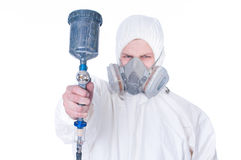 Worker with airbrush gun, selective focus Stock Photo