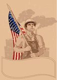 Worker and a American flag stock image