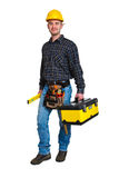 Worker And Tool Box Royalty Free Stock Photos