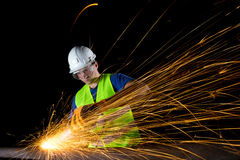 Worker with angle grinder Royalty Free Stock Photography