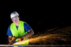 Worker with angle grinder Royalty Free Stock Photos