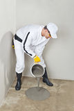 Worker apply self leveling floor Royalty Free Stock Photos