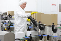 Worker in apron, cap  at production line in factor Stock Photography