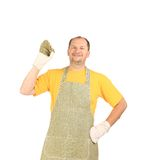 Worker in apron. Stock Images