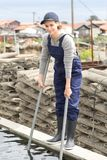Worker aquaculture industry Royalty Free Stock Photos