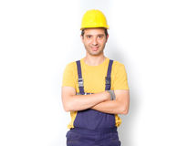 Worker with arm crossed  isolated on white Royalty Free Stock Photos