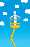 Worker ascending up to the sky on crane Royalty Free Stock Image
