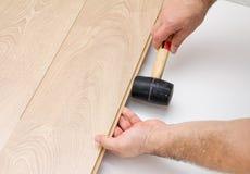 Worker assembling laminate floor using a hammer Stock Photos