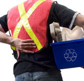 Worker With Back Pain. Closeup view of a city worker suffering from back pain Royalty Free Stock Images