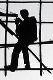 Worker on bamboo. Scaffolding in Hong Kong Royalty Free Stock Photography