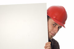 Worker with banner Royalty Free Stock Images