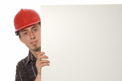 Worker with banner Royalty Free Stock Photo