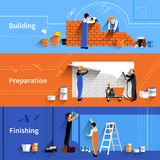 Worker Banner Set. Worker horizontal banner set with building preparation and finishing work elements  vector illustration Stock Photos