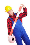 Worker with barrier tape Stock Image
