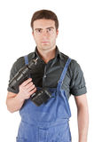 Worker battery drill Stock Image