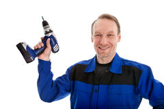 Worker with battery screwdriver Royalty Free Stock Photos