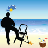 Worker on the beach paradise vector illustration Royalty Free Stock Photos
