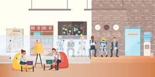 Worker in Bean Bag Chair with Laptop on Coworking. Successful Woman and Businessman Character Sit Work by Computer. Queue of Robot and People Wait Job royalty free illustration