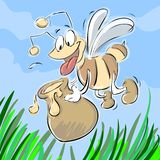 Worker Bee. Cartoon worker bee collecting honey Royalty Free Stock Photos