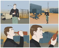 Worker with beer storyboards. Tired worker with beer storyboards stock illustration