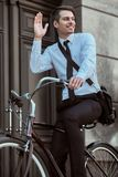 Worker with bicycle stock images