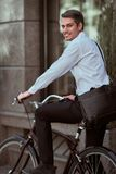 Worker with bicycle stock photography