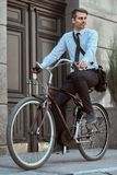 Worker with bicycle royalty free stock photography