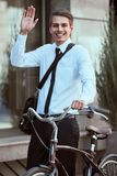 Worker with bicycle royalty free stock photo