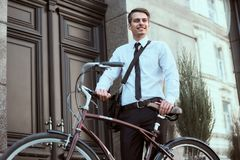 Worker with bicycle stock photos