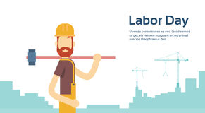 Worker With Big Hammer Wearing Hard Hat, Builder Industrial Background, International Labor Day Copy Space Stock Image