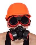 Worker in bio-hazard mask stock image