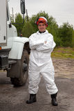Worker in bio-hazard suit Stock Photo
