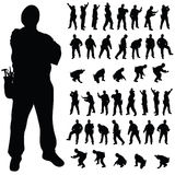 Worker black silhouette in various poses Stock Photography