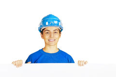Worker with blank board Stock Photos