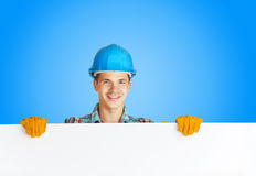 Worker with blank board Royalty Free Stock Photos