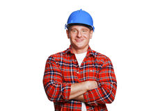 Worker in blue helmet. Stock Photo