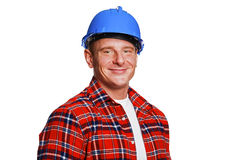 Worker in blue helmet. Stock Image