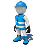 Worker in blue overalls. Isolated Stock Photo