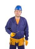 Worker in blue protective helmet. Stock Image