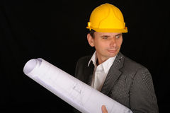 Worker with blueprints Royalty Free Stock Image