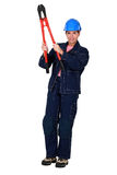 Worker with boltcutters Royalty Free Stock Image