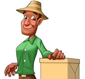 Worker with a box Stock Image