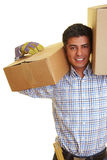 Worker with boxes Stock Photo