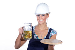 Worker at the break with beer Royalty Free Stock Photos
