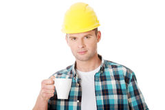 Worker on a break drink coffee Stock Photo