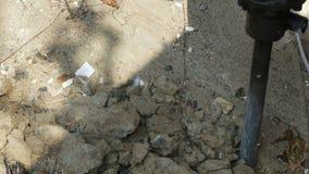 Worker Breaking Cement Floor By Using Demolition Hammer stock video
