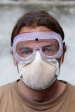 Worker with breathing mask royalty free stock photo