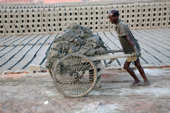 Worker in a brickyard Stock Photo