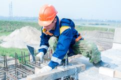 Worker on bridge construction Stock Photography